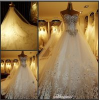 Wholesale Trumpet Sets - Luxury Crystal Wedding Dresses Lace Cathedral Lace-up Back Bridal Gowns 2015 A-Line Sweetheart Appliques Beaded Garden Sets Wedding dress