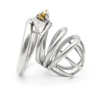Wholesale Chastity Cage Curve - 304 stainless steel Cock Cage Male Chastity Device with curved ring lock Sex Toys for men XCXA226-1