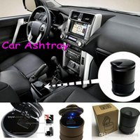 Wholesale Unique Modern - Unique modern and easy to clean LED light automatic car ashtray portable plastic holder 30pcs lot DHL free shipping