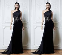 Wholesale Zuhair Murad One Sleeve Lace - Black One Shoulder 2015 Zuhair Murad Evening Dresses Handmade Flower See Through Appliques A-Line Sweep Train Prom Evening Party Dress