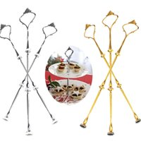 Wholesale Crown Cake Stand Fittings - Wedding Party Hotel Dessert Decor Tool Set 3 Tier Cake Plate Stand Handle Crown Fitting Rod Silver Golden