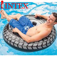 Wholesale Swimming Pools Inflatables - Free Shipping 2016 New 3 Style Giant Tire Adult Inflatable Swim Ring Large Swim Circle Above 9 ages Kid Water Sport Summer Fun Pool Float