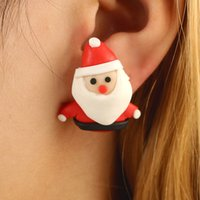 3D Handmade Polymer Clay Lovely Christmas Santa Claus Red Scarf Stud Earring Para Mulheres Girl Earrings Jóias NE835