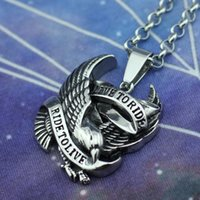 Wholesale Eagles Jewelry - Silver Punk Harley Biker Eagle Hawk Ride to Live Stainless Steel Pendant Jewelry Men's Charming Jewelry