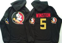 Wholesale Reversible Fleece - Florida State Seminoles 5 Winston Red Black Full Sport Jersey Embroidery Stitching Name Best Quality Hooded Sweatshirt Jackets Sweater
