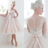 Wholesale Short Casual Wedding Ivory - 2015 Informal Short Wedding Dress Ball Gown Sheer Bateau Neck Cap Sleeves Lace Appliques Bow Sash Pearls Casual Bridal Gowns