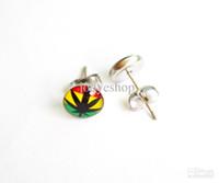 Wholesale Oil Pin - Leaf Earring Ear Stud Oil Design Logos Motifs 8mm ball Hot Sale Popular Styles Pin Jewelry 100pcs lot Wholesale