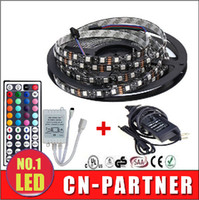 Wholesale 12v Power Pcb - fast ship Waterproof 5050 RGB Black PCB 60led m 5M 300 LED SMD IP65 DC 12V Flexible Light Strip+44key+12v 5A power