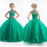 Wholesale Pageant Gowns For Sell - Green Beaded Flower Girls' Dresses For Weddings Crystal Ball Gown Pageant Dresses For Girls Rachel Allan 2016 Hot Sell Birthday Party Gowns