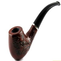 pipas de madera accesorios al por mayor-Elegante Vintage Durable de Madera de madera Caballero Redondo Fumar Tabaco de Fumar Pipa de Fumar Accesorios bolsa de regalo Y-606