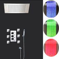 Wholesale Sensitive Led Faucet Bathroom - Bathroom LED Shower Faucet Sets With Thermostatic Mixer Valve 360*500 Rainfall Temperature Sensitive Shower Head Spa Body Massage Spray Jets