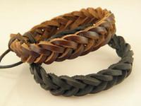 commande de bijoux achat en gros de-Bracelets en cuir véritable tressé à la main des hommes de bijoux pour les femmes grand prix mélange ordre prix usine en gros