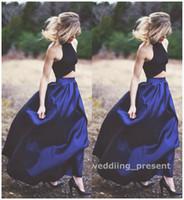 ingrosso gonne blu-Due pezzi Royal Blue Abiti da sera Gonna lunga e camicetta nera Abiti da tappeto rosso Abiti da ballo Halter