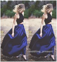 Wholesale Two Pieces Blouses - Two Pieces Royal Blue Evening Dresses Long Skirt and Black Blouse Red Carpet Dresses Halter Prom Gowns