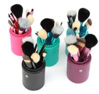 ingrosso 12 pezzi di cippatura-12 Pz / set Set di pennelli per trucco Spazzole per trucco di tamburo Strumenti di bellezza per manico naturale portatile Pennello per cosmetici con portabicchieri in pelle