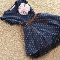 Wholesale Tutu Dresses For Baby Blue - 2-7Y Sweet Baby Girls Flower Decor Ruffled Tutu Blue Dots Cotton Blend Dress Hot For