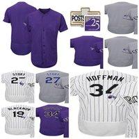 Wholesale Colorado Shorts - Colorado 2017 Postseason 25th Season Patch 27 Trevor Story 19 Charlie Blackmon Jeff Hoffman Cool Flex Baseball Jerseys White