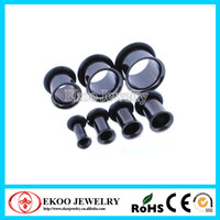 Wholesale Ear Rings Plugs - Black Single Flared Plug Cheap Ear Gauges Pugs with O-ring18mm-30mm Mixed Sizes Body Jewelry O-ring Gauge Plugs