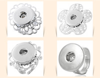 Wholesale Adjustable Alloy Rings - 2015 Noosa button ring Jewelry Interchangeable Metal Snap Button Adjustable Ring Ginger Snap Ring 7 styles D549M