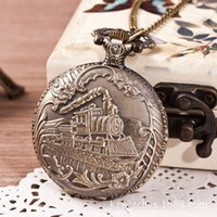 Wholesale Train Style Watches - Hollow out Opendable Train style vintage POCKET WATCH Necklace Pocket Watches Punctual Quartz Watches Necklace Unique pocket watch!
