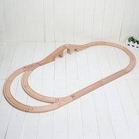 Wholesale Build Wooden Train - rail train toys children's toys train track wooden toys assembling building blocks set wooden railway 17pcs set