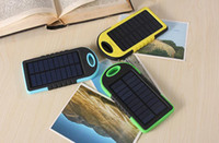 Wholesale Universal Battery Chargers For Cameras - HOT Universal 5000mAh Solar Charger Waterproof Solar Panel Battery Chargers for Smart Phone PAD Tablets Camera Mobile Power Bank Dual USB