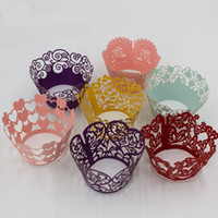Wholesale Cupcakes Gray - Color Lace Decor Cupcake Wrappers Liners Multi Colors Cake Cup Wraper Laser Cut Christmas Party Decoration SD823