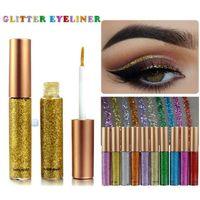 brillo brillo maquillaje al por mayor-Makeup Glitter EyeLiner Shine Liquid Liner líquido de larga duración Delineador de ojos Shimmer Sombra de ojos Lápices con 10 colores para elegir