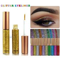 sıvı göz makyajı toptan satış-Makyaj Glitter EyeLiner Parlak Uzun Ömürlü Sıvı Eyeliner Pırıltılı göz kalemi Göz Farı Kalemler için 10 renkler ile seçin