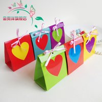 Wholesale Rainbow Wedding Favor Boxes - Free shipping wedding favor box--Rainbow 6 color European creative candy box chocolate box party gift favor box 50pcs lot