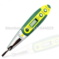 Wholesale Pencil Voltage - Electric AC DC Digital LED Light Indicator Multifunction Voltage Detector Test Pencil Night Blue Screen Free Shipping DB3098 order<$18no tra