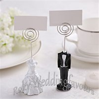 Wholesale Black White Place Cards - Free Shipping 20pcs Bride and Groom Place Card Holder Wedding Party Decoration Party Card Holder Photo Clips Note Holder