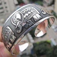 Wholesale Vintage Metal Elephants - Wholesale-2016 Vintage Tibetan Tibet Elephant Silver Plated Bracelets Charming Elegant Round Metal Cuff Bangles Women Jewelry Gifts 1Pcs