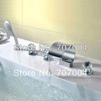 Wholesale Tub Faucet Mixer - Free Shipping Wholesale And Retail Chrome Finish 5pcs Deck Mount Waterfall Bathtub Bath Tub Faucet Mixer Tap w  Handheld New
