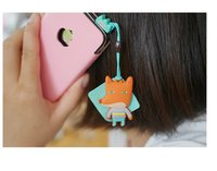 Wholesale Candy Cell Phone Dust Plug - Wholesale-New fashion 2015 Cute cartoon shape, cell phone dust plug Candy color phone pendant, W1170