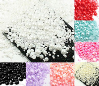 Wholesale flatback resin cabochon - Wholesale-Free Shipping 1000Pcs Mixed 2-10mm Craft ABS Resin Flatback Half Round Pearls Flatback Cabochon Beads Jewelry DIY Decoration