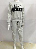 Wholesale Wool Fleece Pants - Winter Fleece Suite Women Autumn Warm Grey Pink Clothing Sets LOVE Printed Long Sleeved Hoodies Long Pants 2pcs Suits