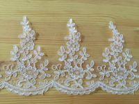 Wholesale Wholesale Bridal Trim - Embroidered lace trim white bridal lace fabric trimming Floral wedding decoration lace 15cm wide 5 yards lot