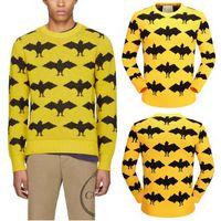 Wholesale natural cotton batting - Size 3XL Yellow Bat Printed Sweaters Men Wool+Cotton Knitwear Street Wear Pullover Men's Sueter De Lana Hombre