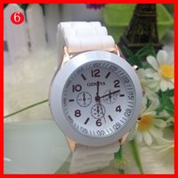 Wholesale Wholesale Men Colored Watches - New Shadow Rose-Gold Colored Style Geneva Watch Rubber Silicon Candy Jelly Fashion Men Women Silicone Quartz Watches