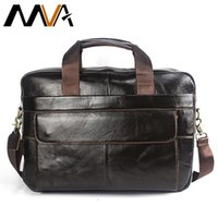 sacos de viagem de couro genuíno venda por atacado-MVA Laptop Bag Men Briefcase Business Travel Briefcase Handbag Messenger Shoulder Laptop Bags Men Genuine Leather Bag Men Briefcase