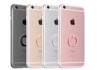 """Wholesale Iphone Finger Ring Case - Shockproof Transparent Tpu iphone X Case with Metal Ring Holder for Iphone 6 7 plus 4.7"""" 5.5"""" Back Cover Embed Finger Ring Stent"""