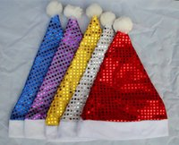 Wholesale Teenage Wholesale Decorations - adult winter Christmas gift Halloween party hat with shiny sequin teenage party decoration hat 6style choose freely 24pcs lot