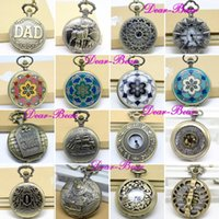 Wholesale Enamel Flower Pocket Watch - Wholesale, Victorian Style Punk Pocket Watch Enamel Flower Watch Necklace, 16 design mixed,dandys