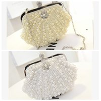 Wholesale Evening Formal Clutch Bags - Top Sale Pearls Bridal Hand Bags One Shoulder Clutch Beaded Crystal Formal Evening Party Diner Bags Shell Style Cheap Sale Online