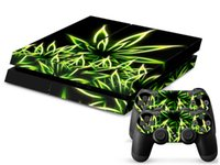 Wholesale green leaf sticker - Full Set Green Leaf High-quality Pop Decal PS4 Skin Sticker For PS4 Console +2 PCS Controller Skin Sticker