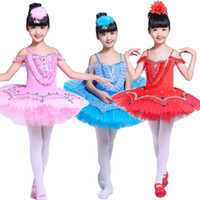 Wholesale ballet woman skirt - Colors Kids Sequined Swan Lake Ballet dance wear dress Professional Tutu dress costumes Girls Stage wear Party performance dancing dress