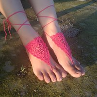 sexy heiße rosa hochzeit schuhe großhandel-1 Paar oder 2 PCS Crochet White Barefoot Sandles Crochet, Nude Schuhe, Fuß Schmuck, Sexy, Strand Hochzeit, Barfuß Sandles Hot Pink