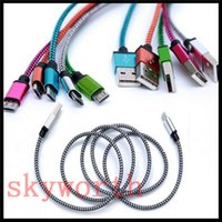 Wholesale Metal Connector Fabric Nylon Braid Micro USB Type C Cable Lead charger Cord For Samsung S6 edge HTC Android Phone M M M