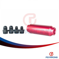 Wholesale Auto Stores - PQY STORE-Universal auto Fuel filter Red with 2pcs AN6 adaptor fittings&2pcs AN8 adaptor fittings 40micron PQY5564R